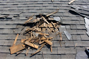 Roof construction site. Removal of old roof, replacement with ne